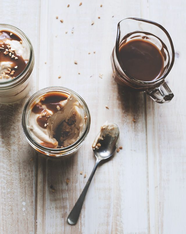 peanut butter cheesecake jars with salted caramel sauce