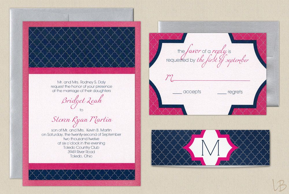 Navy And Pink Wedding Invitation Sample Layered Invite Blue Hot With Silver Envelopes Modern Tiled Design 4 00 Via Etsy