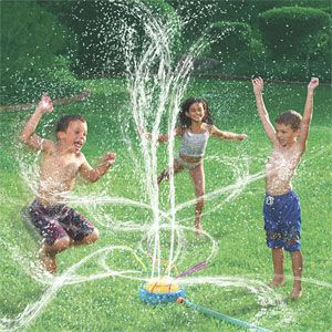 DON'T GET WET!   Set up a number of sprinklers in between a starting line and a finish line.   Have the children try to run from one end to the other WITHOUT getting sprayed.   Have one of the youth control the faucet, turning it ON AND OFF AT RANDOM.   (When game is over--allow children to get wet--of course have them wear their swim suits!)