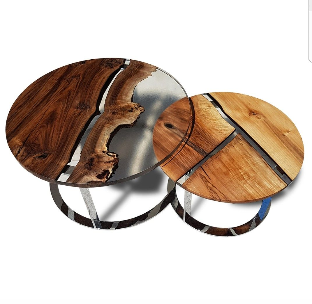 Reclaimed teak wood cracked resin side tables youtube -  Eden Double Round Coffee Table Italian Walnut Wood And Clear Epoxy Resin On