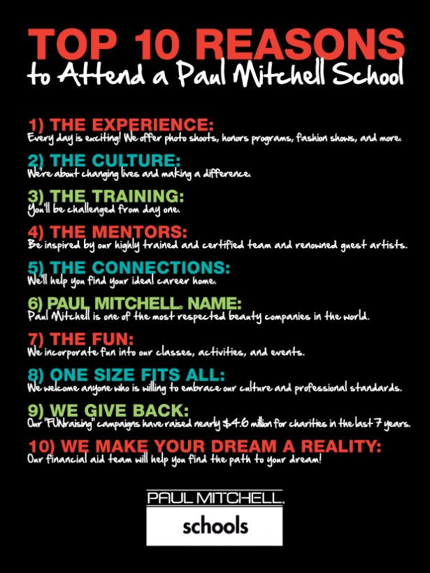 Attend Paul Mitchell School  Top 10 Reason to attend a Paul
