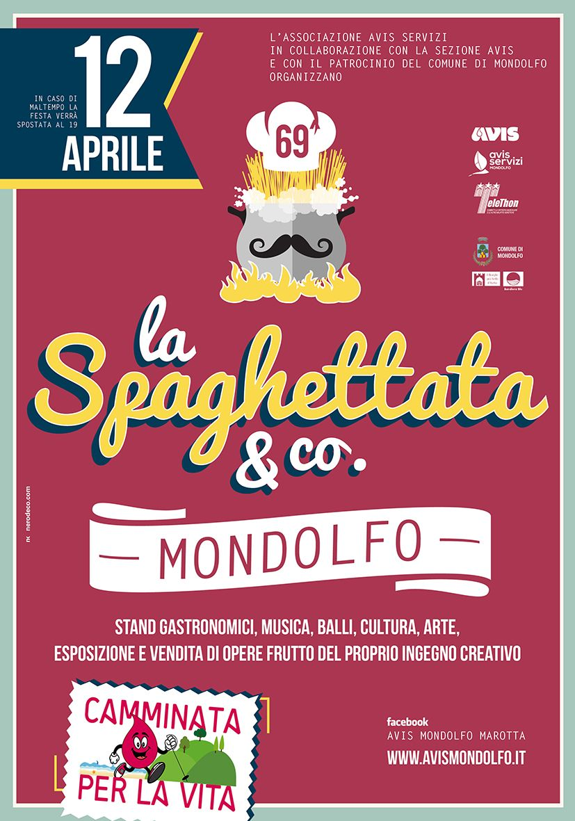 #spaghettata #mondolfo 12 aprile. #nerodecò per #avis