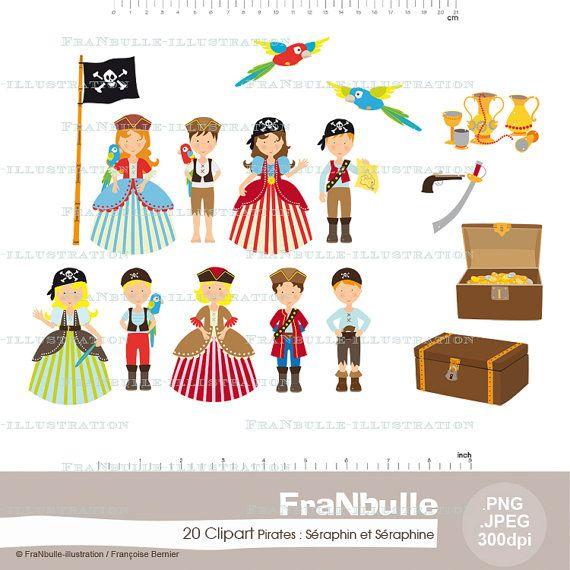 Cliparts Illustrations Numeriques Pirates Seraphin Et Seraphine 20 Images Jpeg Png Haute Definition Pirate Clip Art Clip Art Digital Illustration