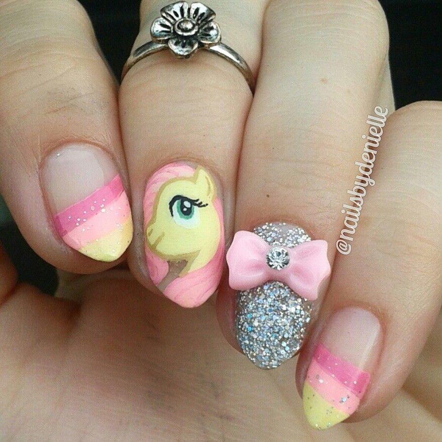 Fluttershy my little pony nails   Fiesta de my little ponny ...