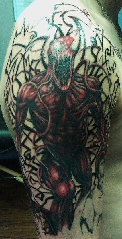 Venom Carnage Tattoo: Carnage Half Sleeve In Progress