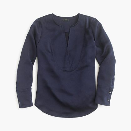 Collection satin tunic top in navy | J.Crew