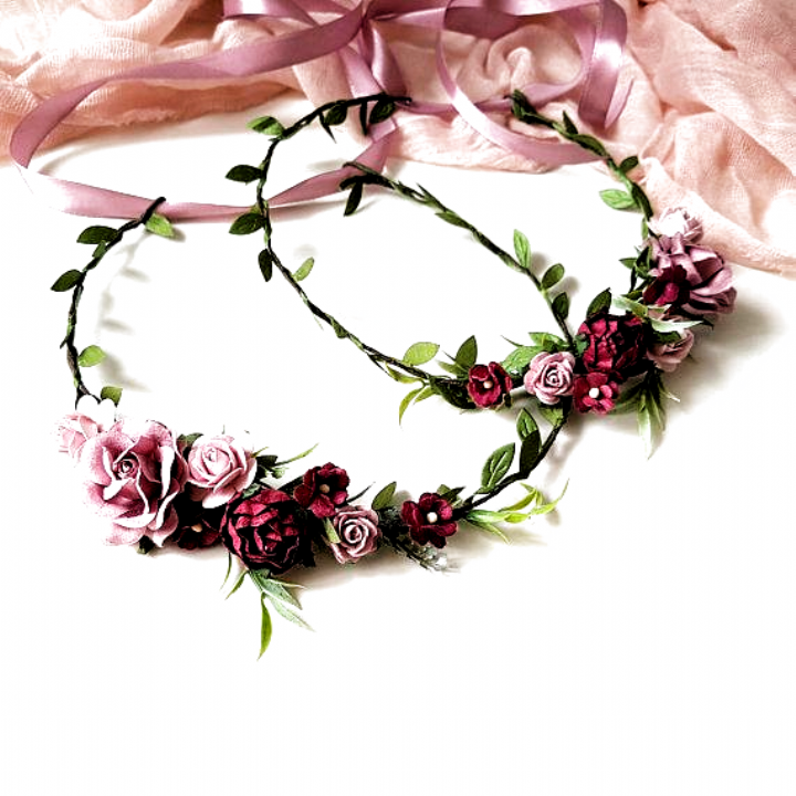 The Flower Crowns With Green Leaves Roses Apple Blossom And Ranunculus All My Crowns And Pieces Are Made W Bridal Flower Crown Flower Crown Diy Flower Crown