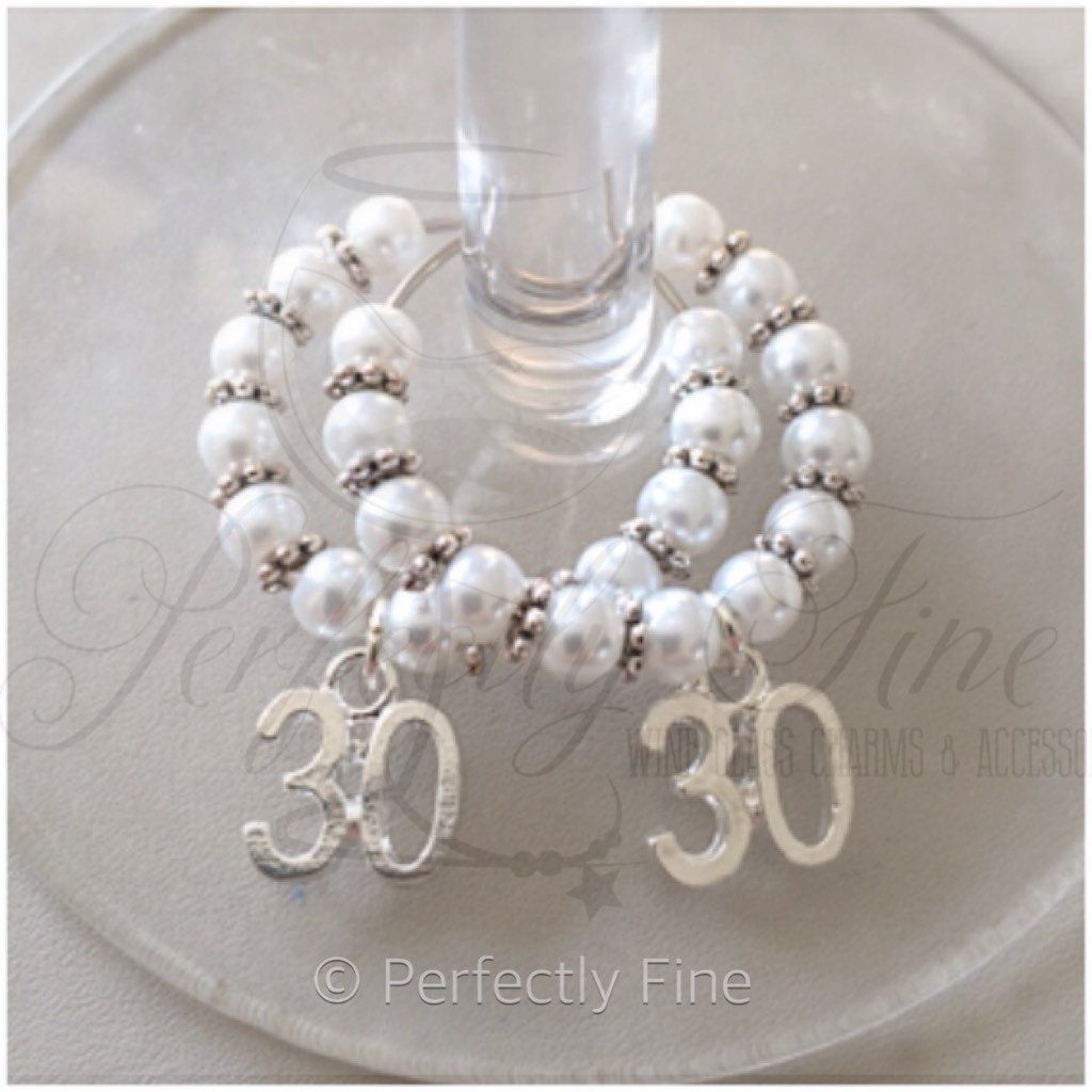 30 Year Wedding Anniversary Gift Ideas For Parents: 30th Pearl Wedding Anniversary Wine Glass Charms. 30th