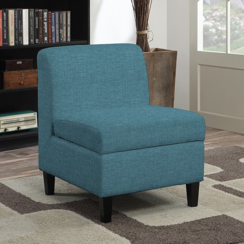 Armless storage chair contemporary blue linen fabric cushion seat furniture new portfolio contemporarytransitional armlesschair chair storage seat