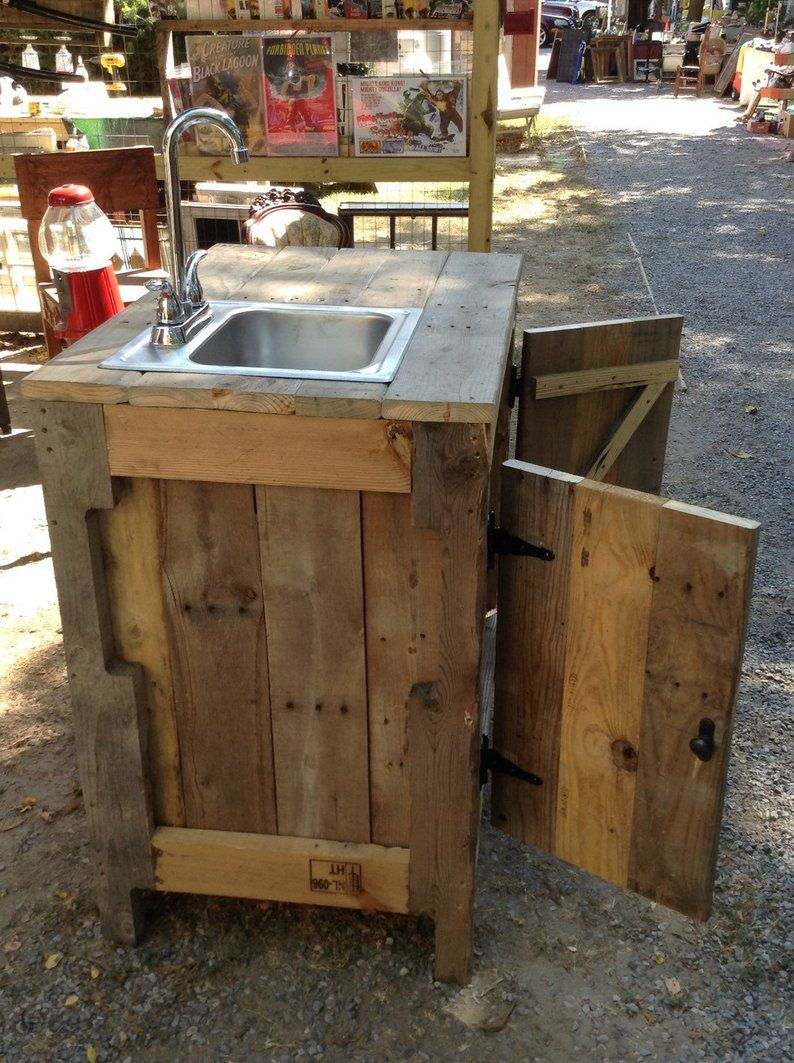 Sink Cabinet For Outdoor Entertainment Area Kitchen Or Bathroom Made With Reclaimed Wood Outdoor Kitchen Sink Outdoor Sinks Outdoor Kitchen Plans