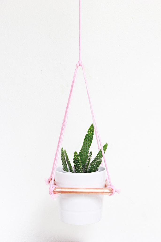 hanging copper planter, diy copper planter, diy hanging planter, make your own planter,