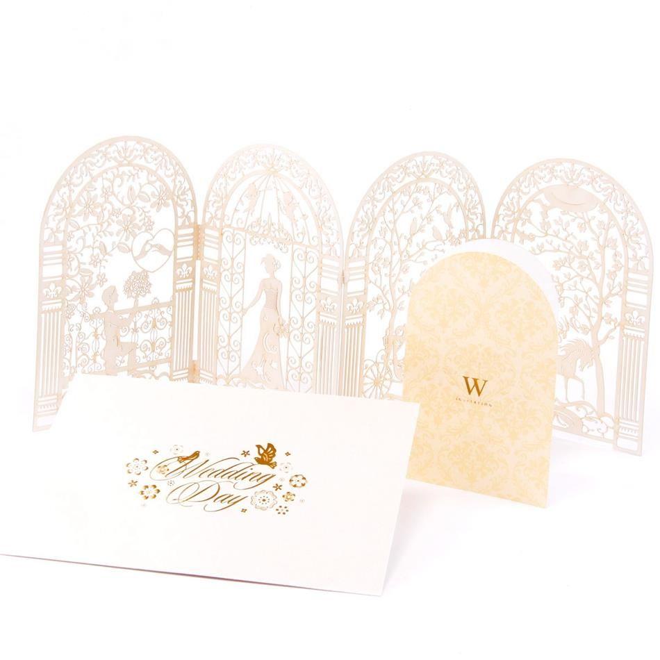 3D laser cut Blanco Rojo y Oro Casamento Mariage Envío Personalizado y la Impresión Personalizada Invitaciones de Boda Tarjetas (juego de 50) en Artículos de Fiesta de Casa y Jardín en AliExpress.com   Alibaba Group