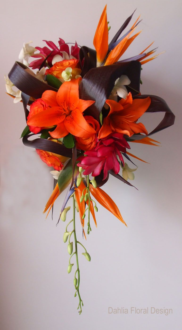 Bird of paradise and ginger flowers in a bridal bouquet | Wedding ...