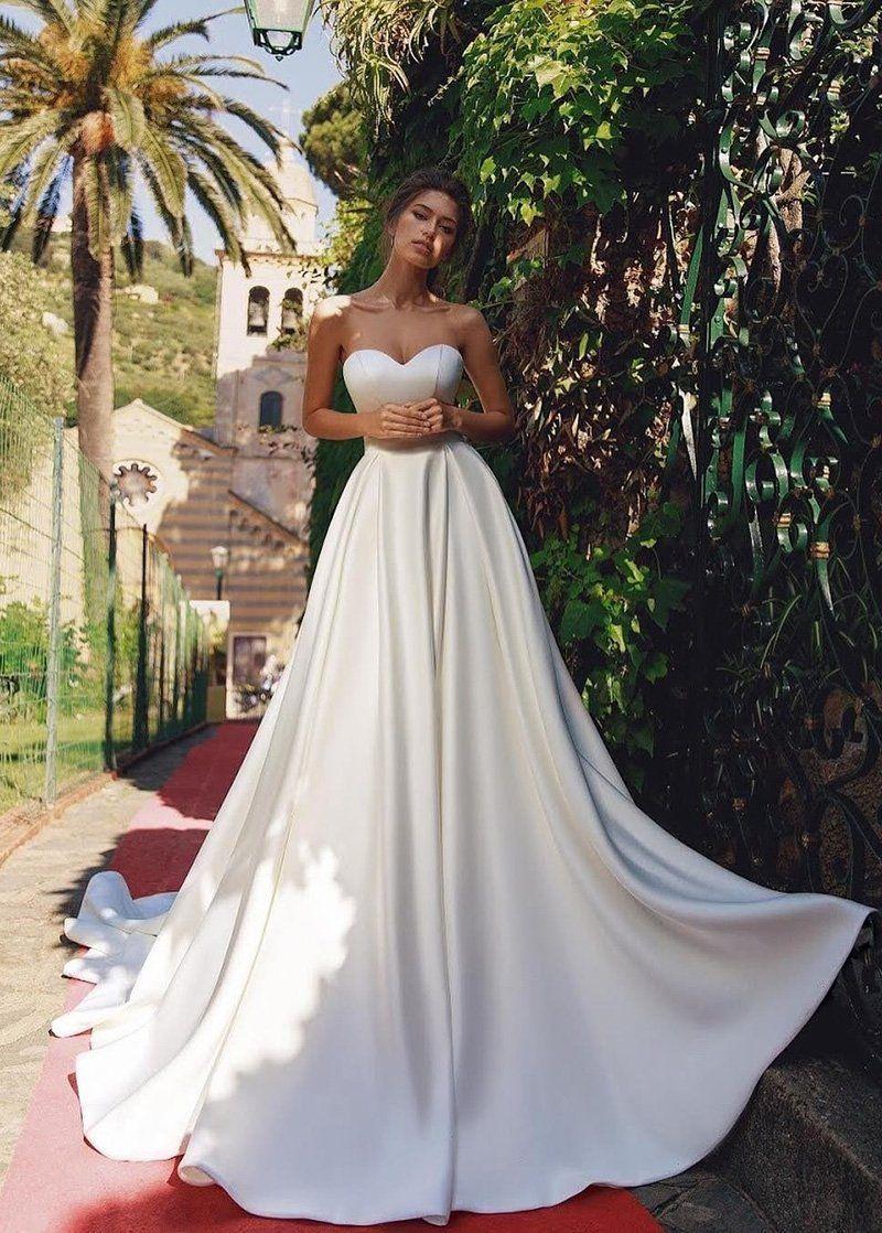 Simple Wedding Dresses, Unique Satin Sweetheart Neckline A-line Wedding Dresses MagBridal