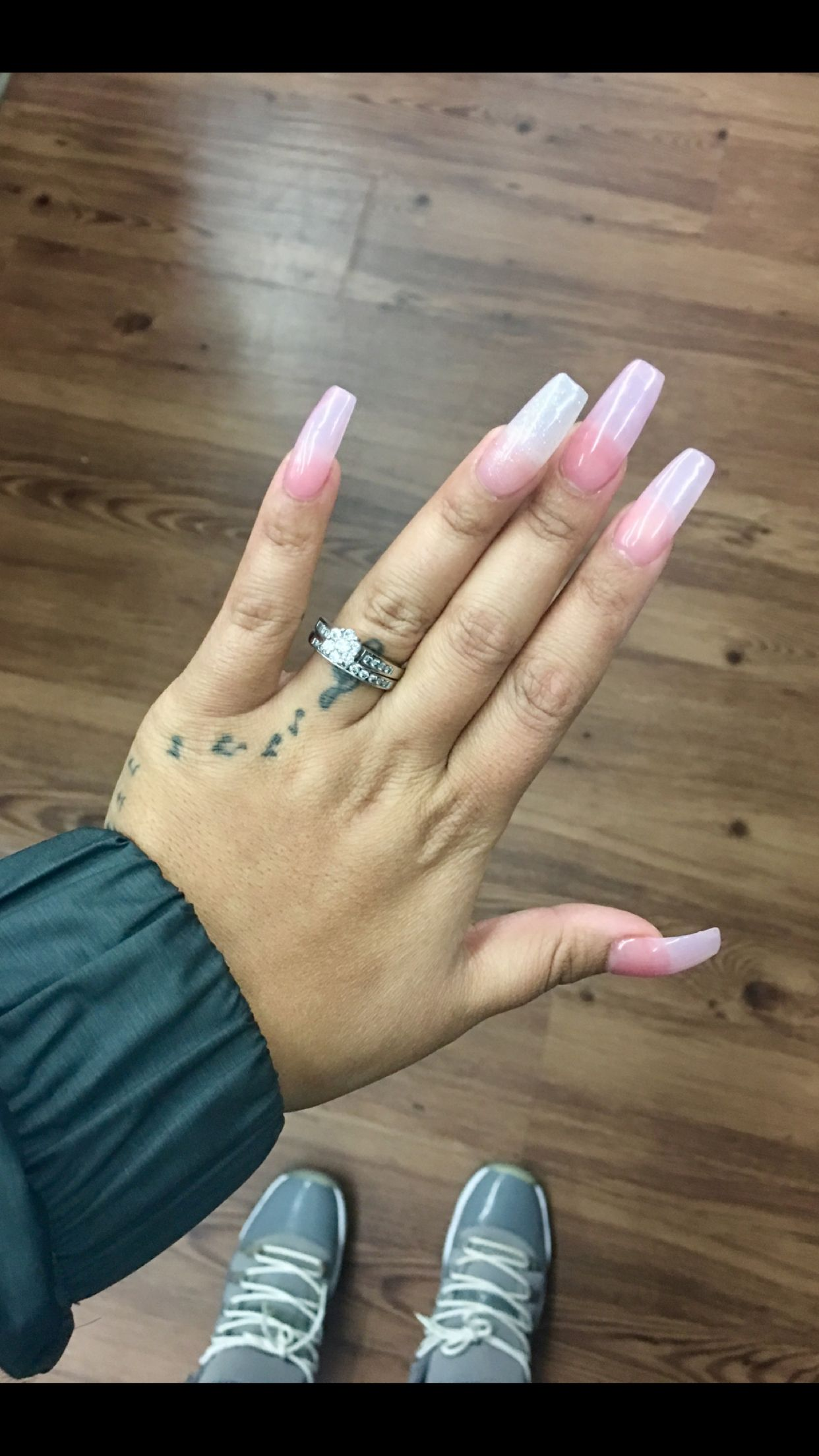 Clear Pink Coffin Nails