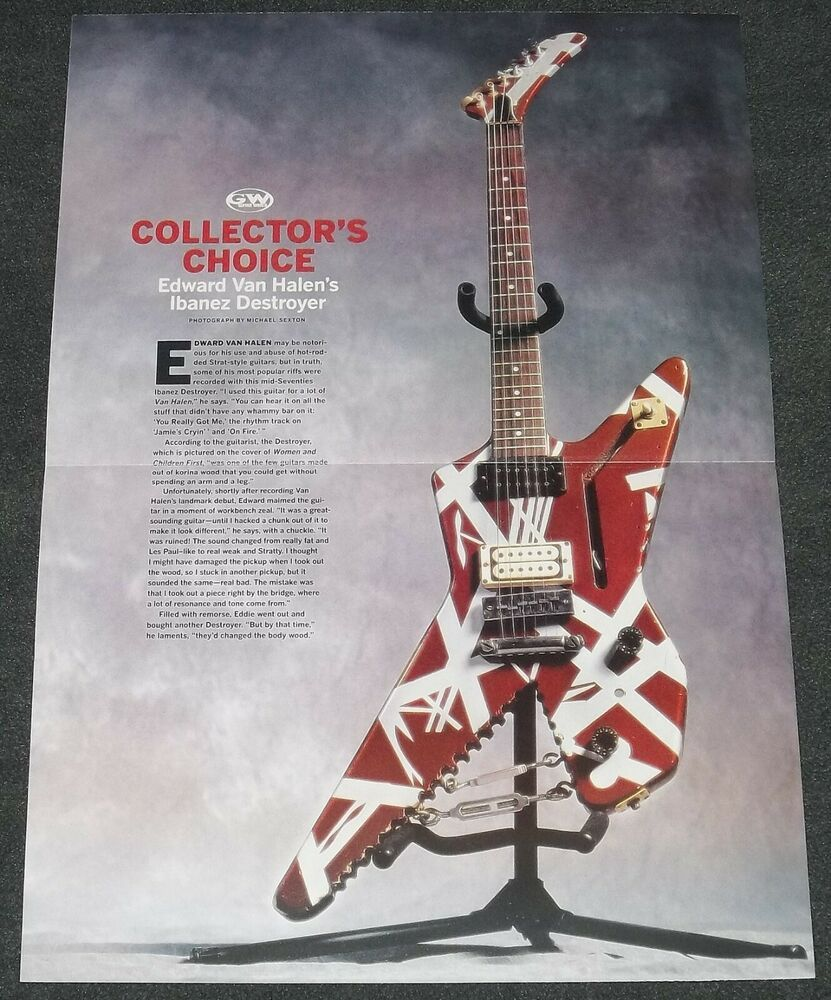 Eddie Van Halen Ibanez Destroyer Guitar Poster David Lee Roth Michael Anthony Eddie Van Halen David Lee Roth Van Halen