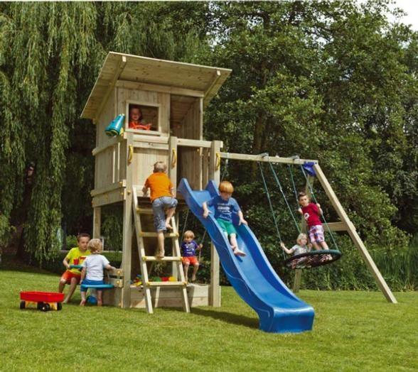 Parque infantil de madera beach hut con columpio doble. br811301 ...
