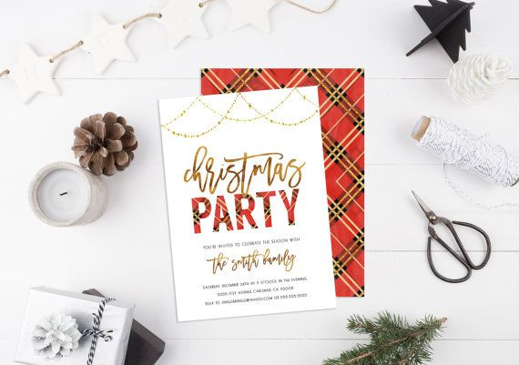 Christmas Party Invitation, Holiday Party, Red and Gold, Plaid