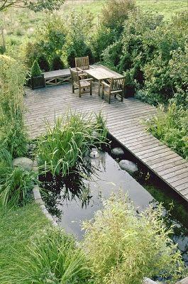 Wasser im garten ein kleiner begehbarer teich mit steg und gem tlichem sitzplatz am wasser - Ein kleiner garten ...