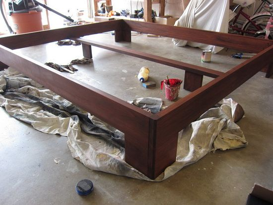 our bed frame fully stained with the black cherry wood stain