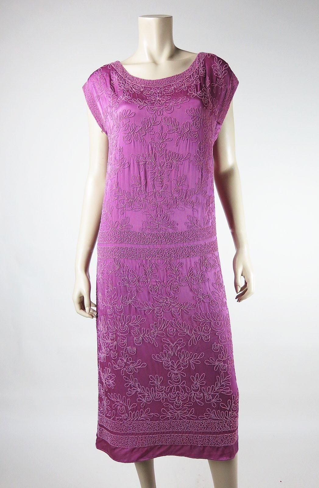 Vivid 1920\'s vintage micro-beaded cerise pink silk dress in ...