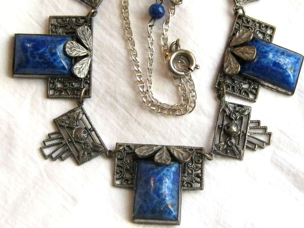 Vintage Czech 800 silver Art Deco necklace with simulated lapis stones