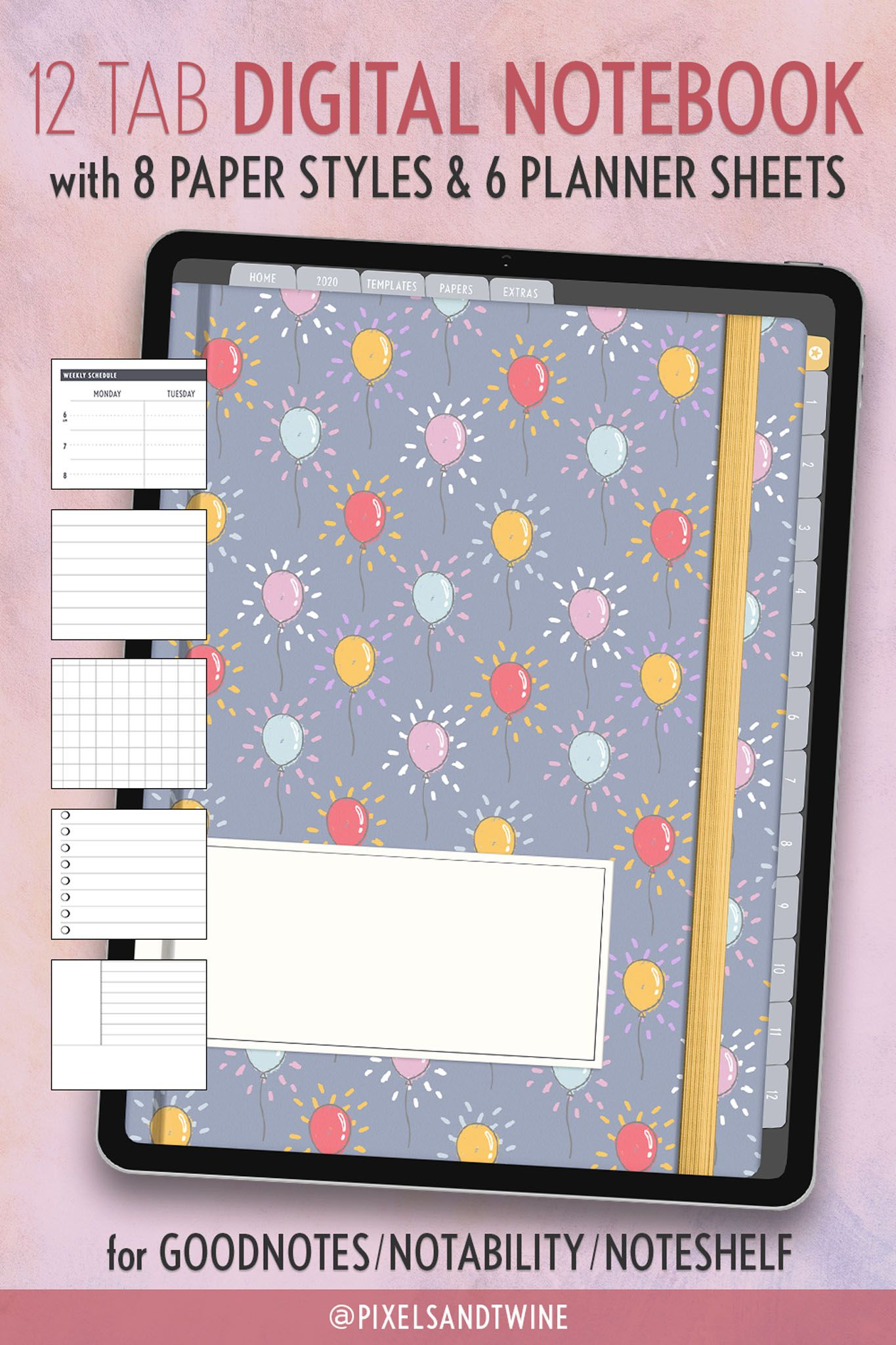 Digital Notebook for Goodnotes, 12 Subject Notability, Noteshelf, Goodnotes Notebook - Journal, Meeting, Student iPad Notes