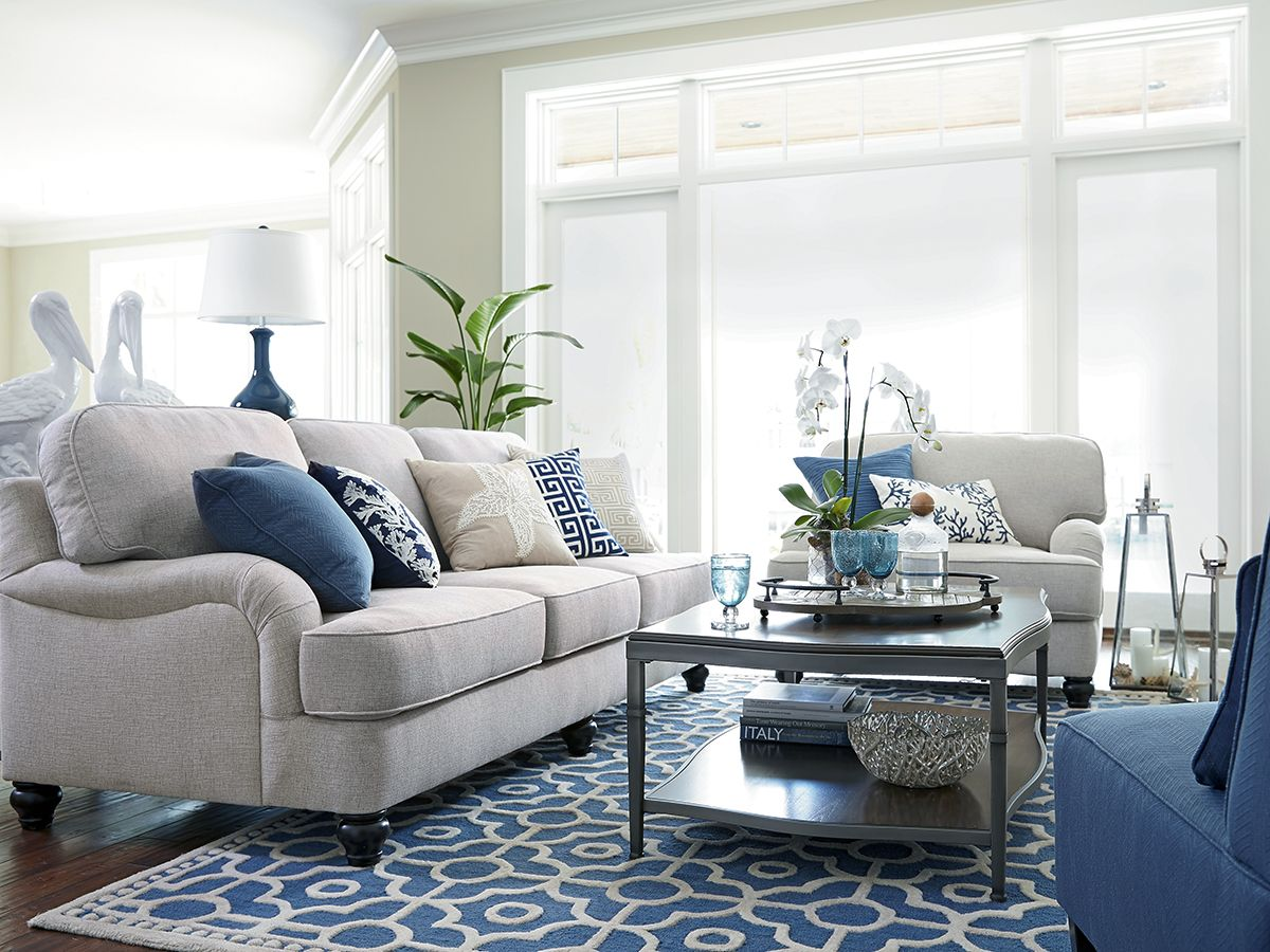 The Harahan sofa is the perfect neutral to layer beach pillows onto ...