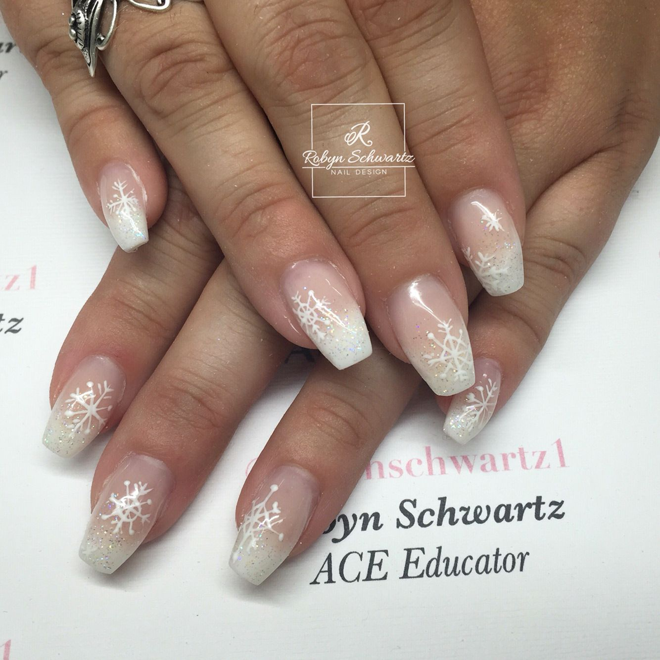 French Ombre Gel Nails With Hand Painted Snowflakes Gelnails