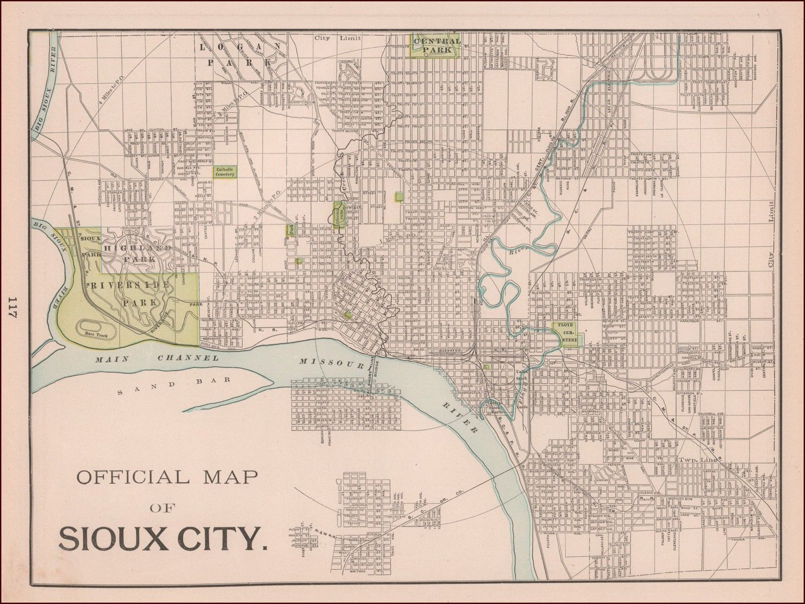 Sioux City Iowa Antique City Map Original 1897 Ebay With Images