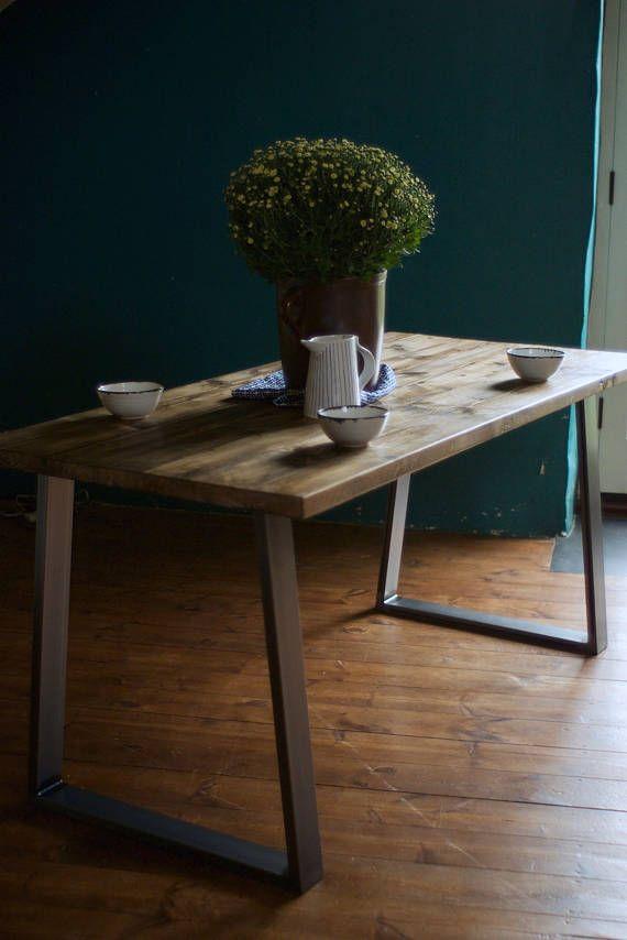 Rústica Retro Industrial reciclado madera mesa de comedor con Banco ...