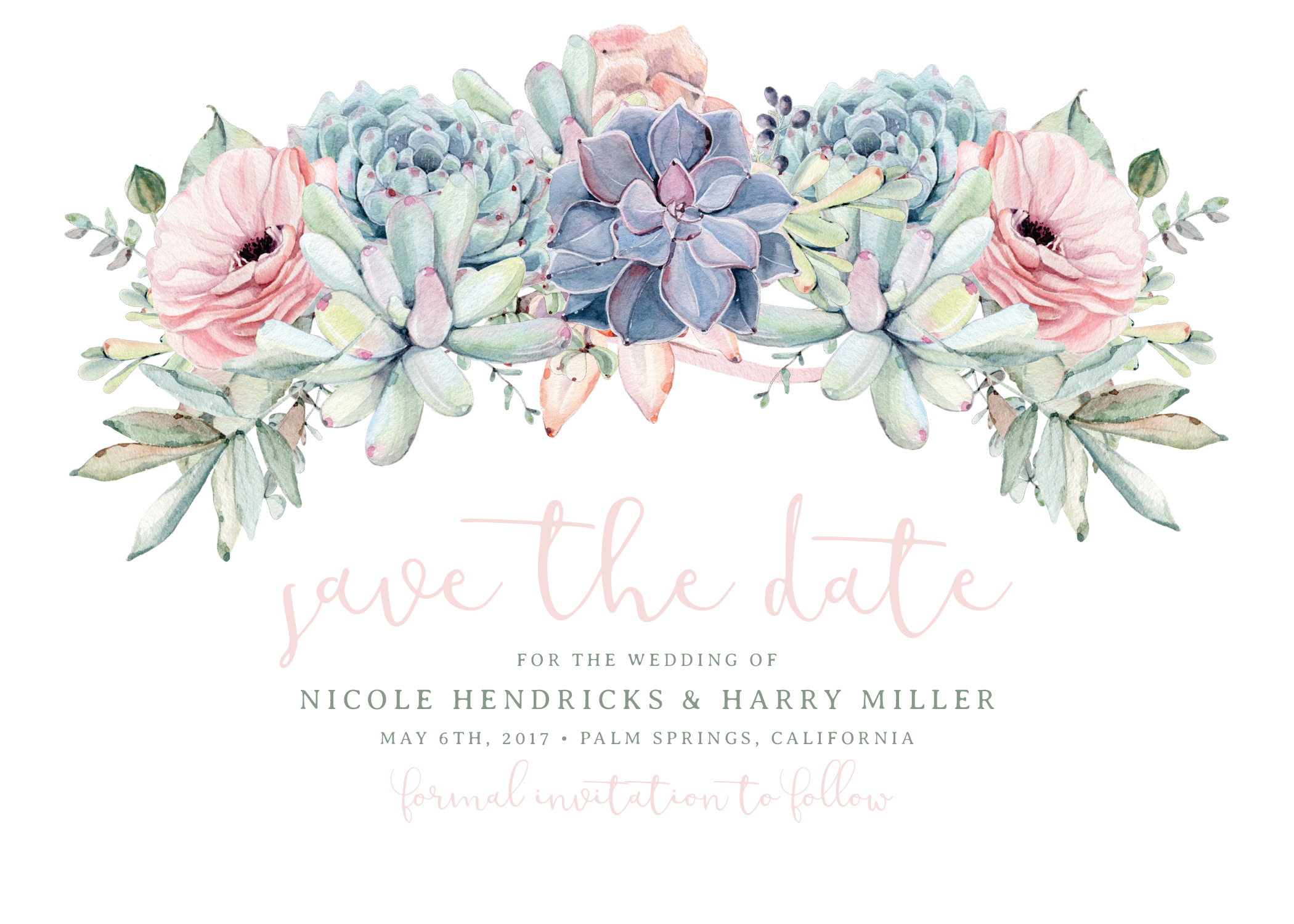 Sweet Succulents Save The Date Rose