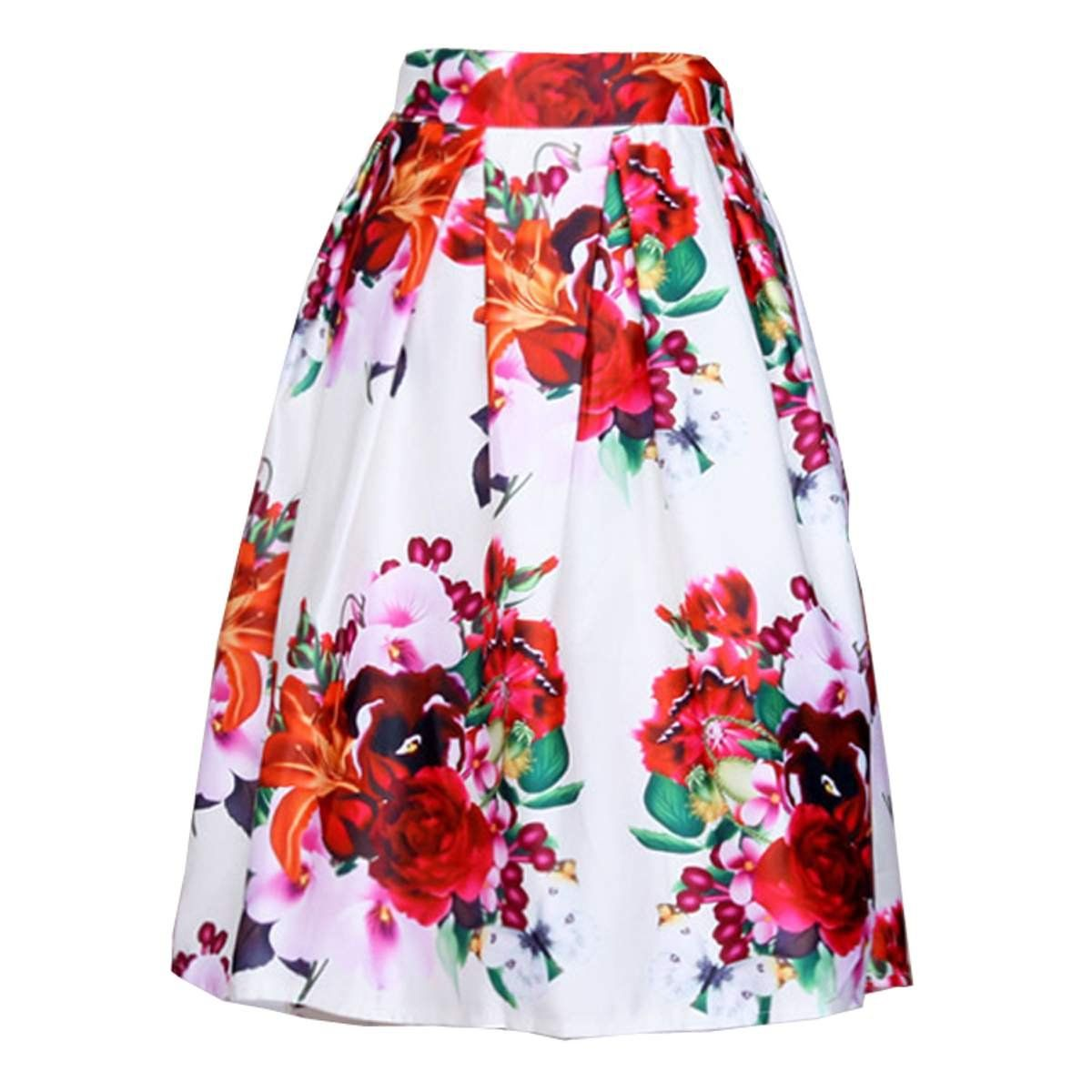 Zeagoo Women Retro Elastic High Waist Knee Length Pleated Puff Midi Skirt