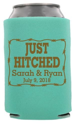 Twc 6506 Just Hitched Western Wedding Rustic Koozie