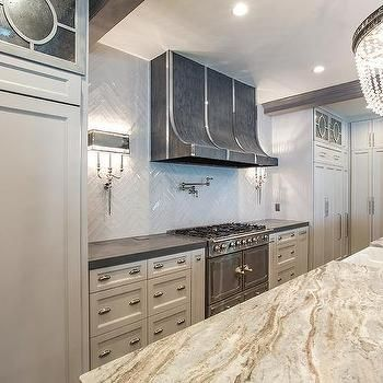 Gray Kitchen with Gray and Gold Marble Countertops