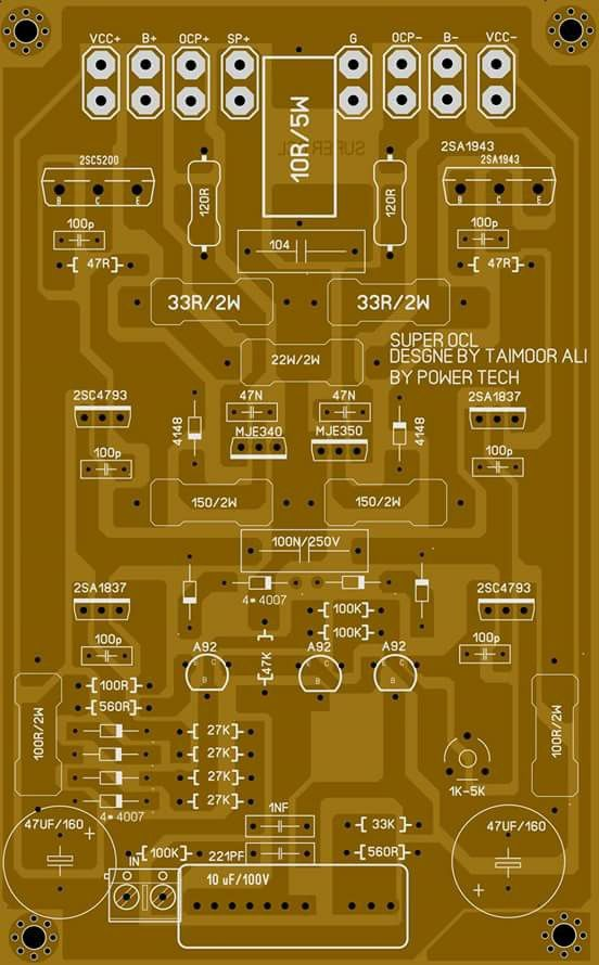 PCB layout super OCL 500 Watt Power Amplifier Circuit diagram | Electronic Circuit Diagram and