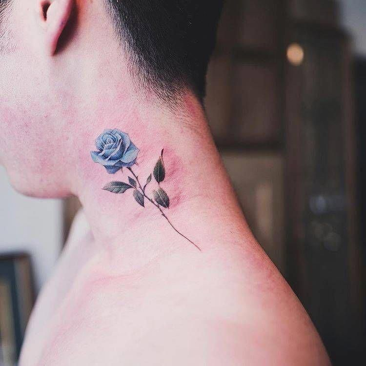 Mexican Actor With Tattoos On Neck Tattoosonneck Neck Tattoo Blue Rose Tattoos Side Neck Tattoo