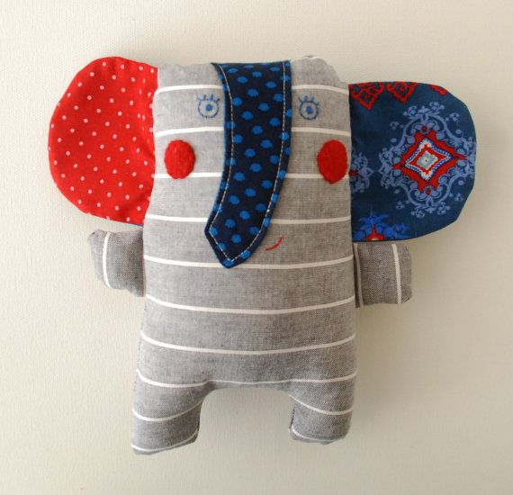Elephant Grey Elephant Doll First Gift For Newborn Handmade Baby