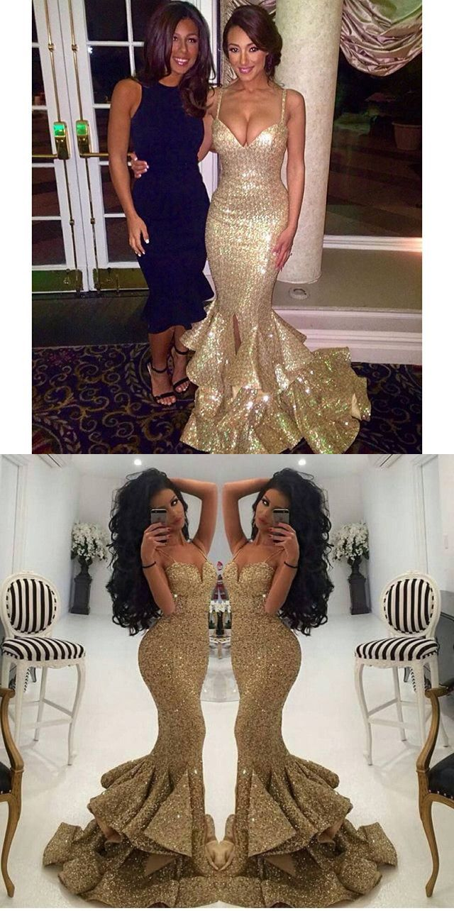 prom dress gold sequins long prom dress straps mermaid long