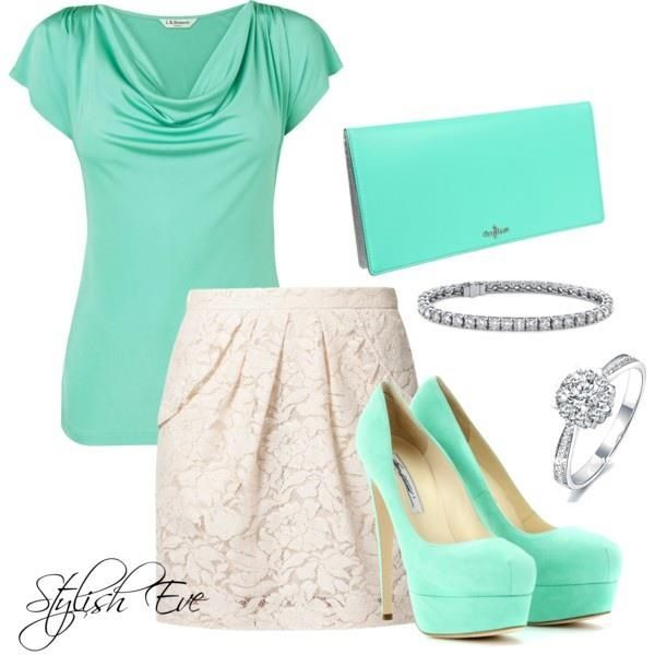 Pretty white lace skirt & turquoise top.