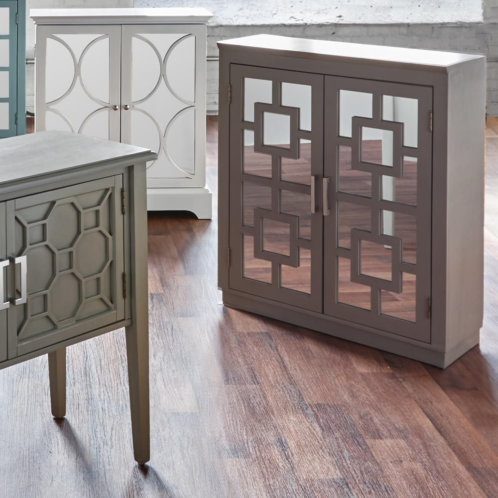 Geometric Cut Out Buffet With 2 Mirrored Doorsbuffets Cabinets