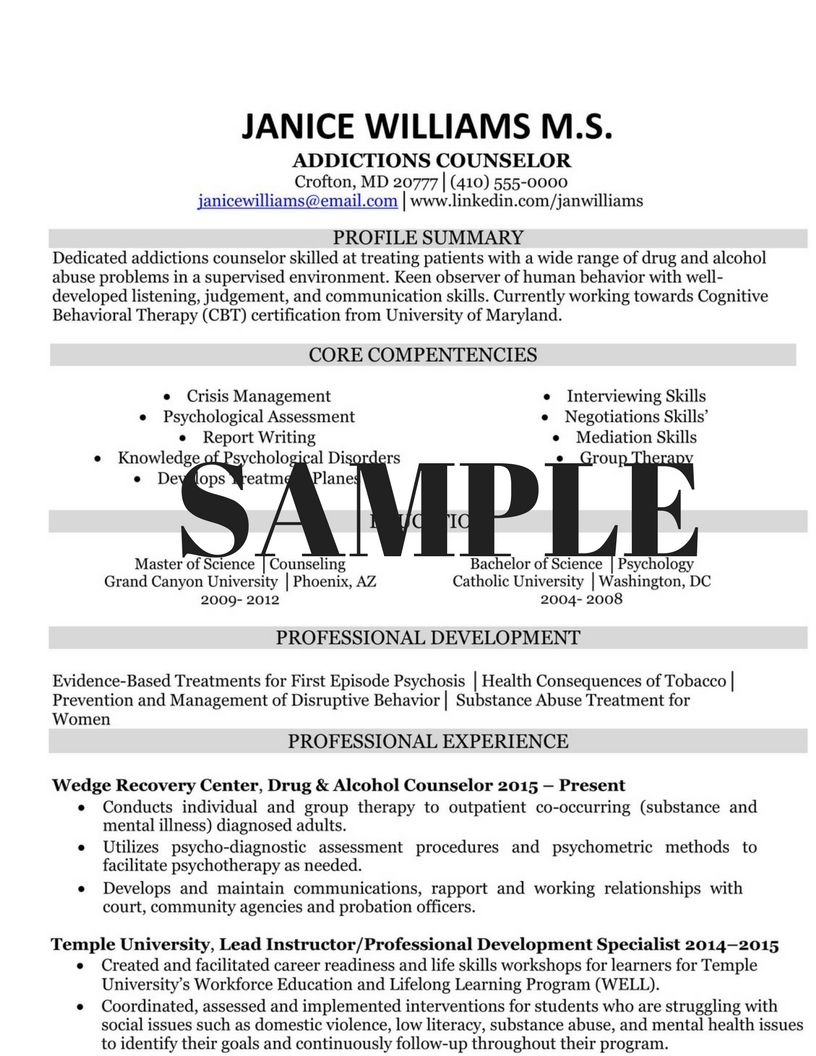 Drug Counselor Cover Letter Career Advisor Resume