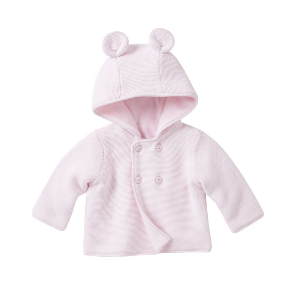 Mothercare Layette Velour Lined Hooded Cardigan - Pale Pink - baby ...