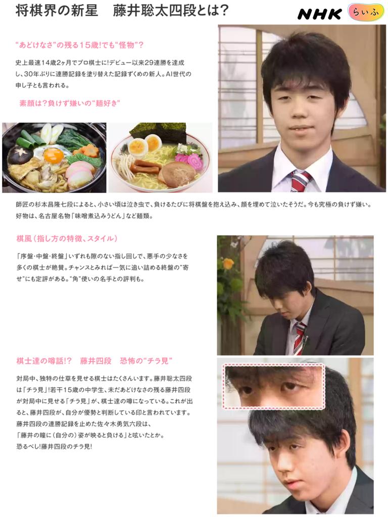 2018 年の「NHK らいふ 【藤井四...