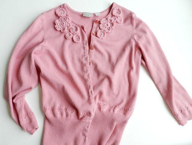 Crochet Flower Embellished Cardigan | Crochet Flowers for Adults ...