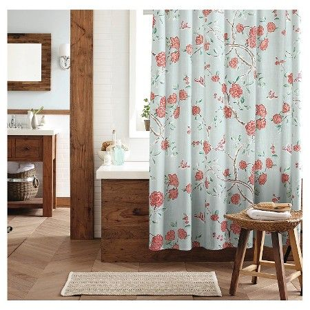 threshold floral and birds shower curtain blue target