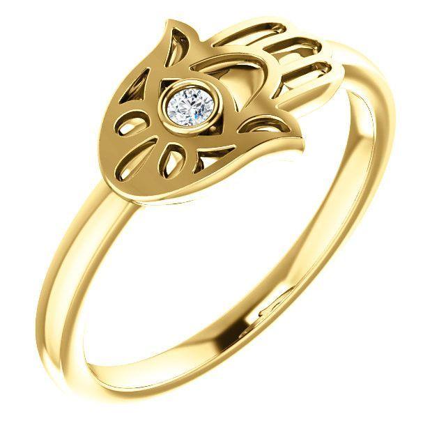 14 Karat Yellow Gold Diamond Hamsa Hand Ring Pinterest Hamsa