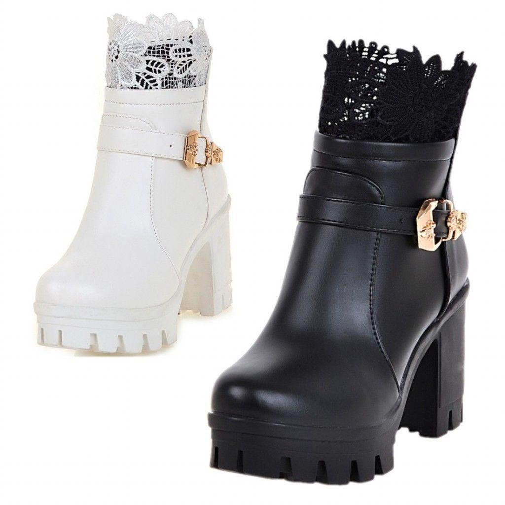 f2ffd3c14fa Womens Lace Military Combat Lug Sole Platform High Heels Club Ankle Martin  Boots