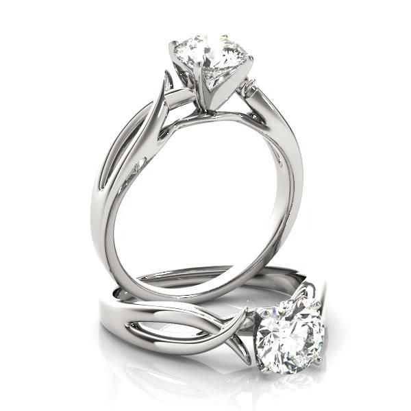Solitaire Bypass Twisted Engagement Ring Setting 1