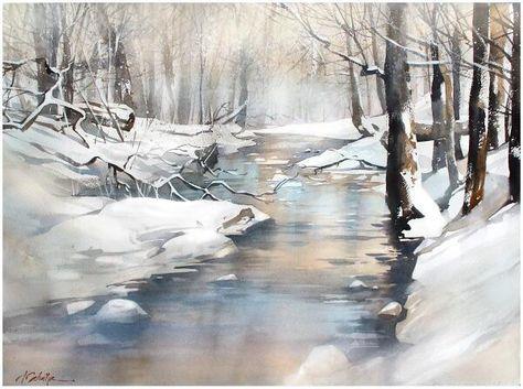 Winterbild Malen Aquarellbilder Kunst Aquarell